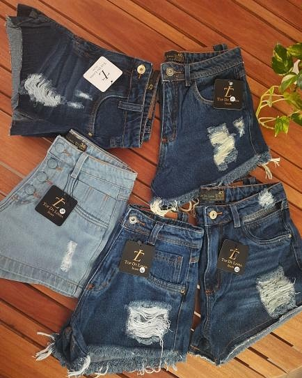 Shorts jeans, Top Dy Linha Jeans