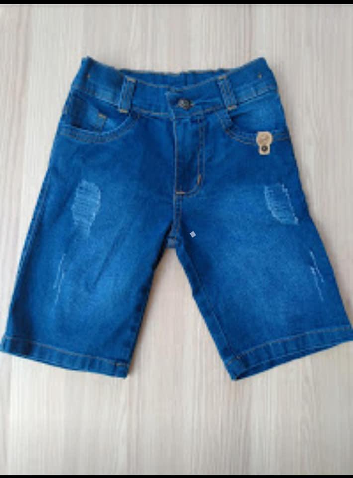Bermudas infantis jeans em Lycra