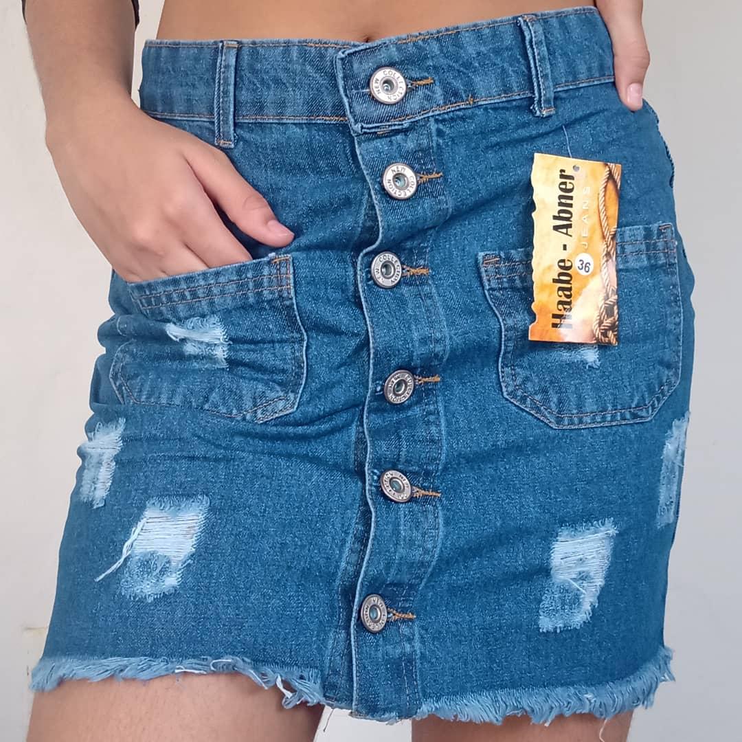 Mini saia jeans 100% algodão
